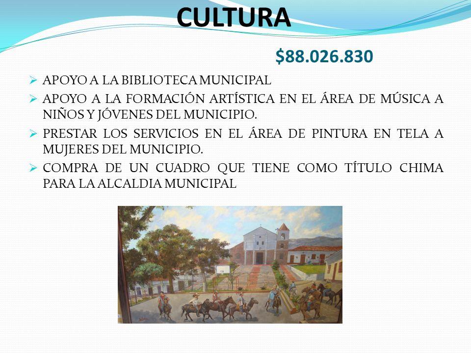 CULTURA $88.026.830 APOYO A LA BIBLIOTECA MUNICIPAL APOYO A LA FORMACIÓN ARTÍSTICA EN EL ÁREA DE MÚSICA A NIÑOS Y JÓVENES DEL MUNICIPIO.