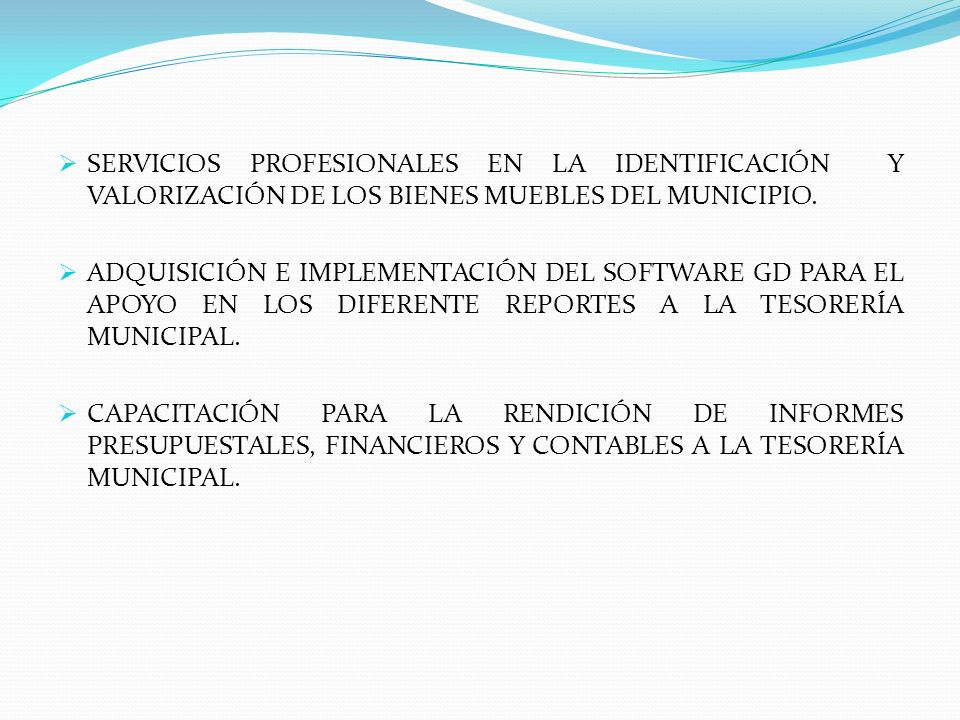 SERVICIOS PROFESIONALES EN LA IDENTIFICACIÓN Y VALORIZACIÓN DE LOS BIENES MUEBLES DEL MUNICIPIO.
