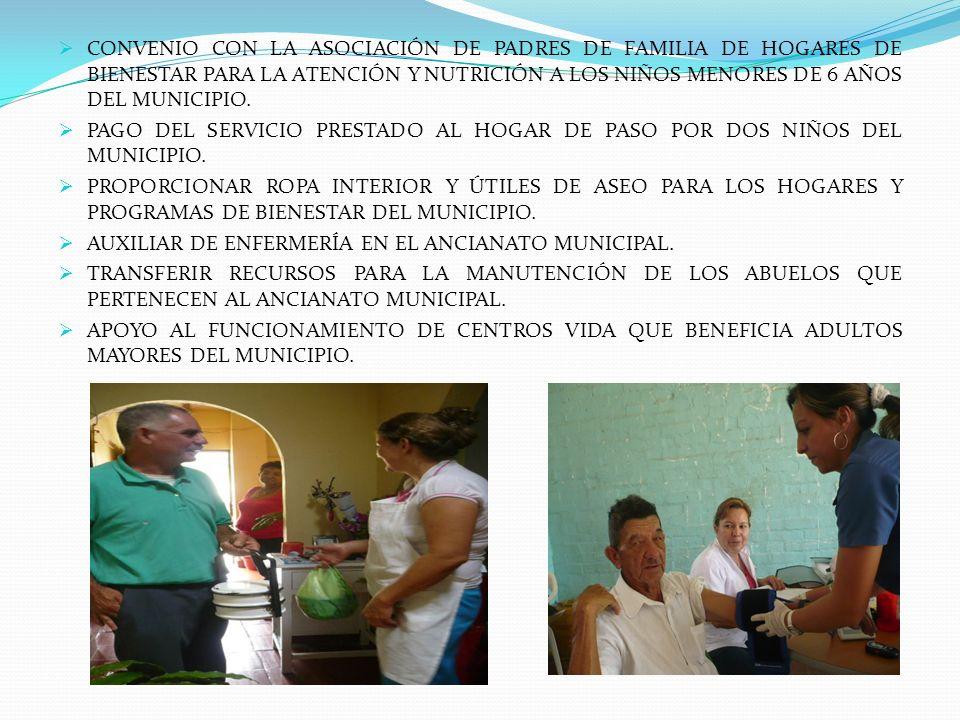 CONVENIO CON LA ASOCIACIÓN DE PADRES DE FAMILIA DE HOGARES DE BIENESTAR PARA LA ATENCIÓN Y NUTRICIÓN A LOS NIÑOS MENORES DE 6 AÑOS DEL MUNICIPIO.