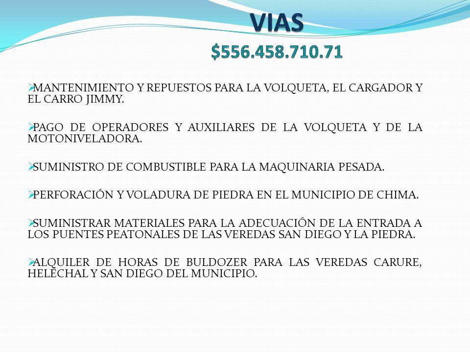 MANTENIMIENTO Y REPUESTOS PARA LA VOLQUETA, EL CARGADOR Y EL CARRO JIMMY.