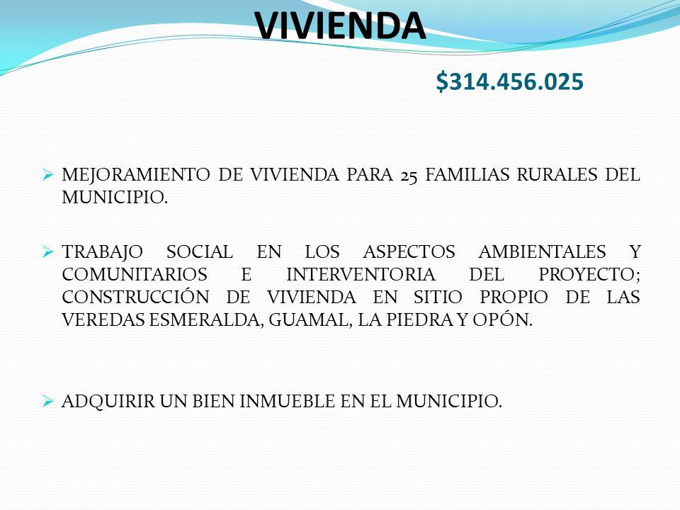 VIVIENDA $314.456.025 MEJORAMIENTO DE VIVIENDA PARA 25 FAMILIAS RURALES DEL MUNICIPIO.