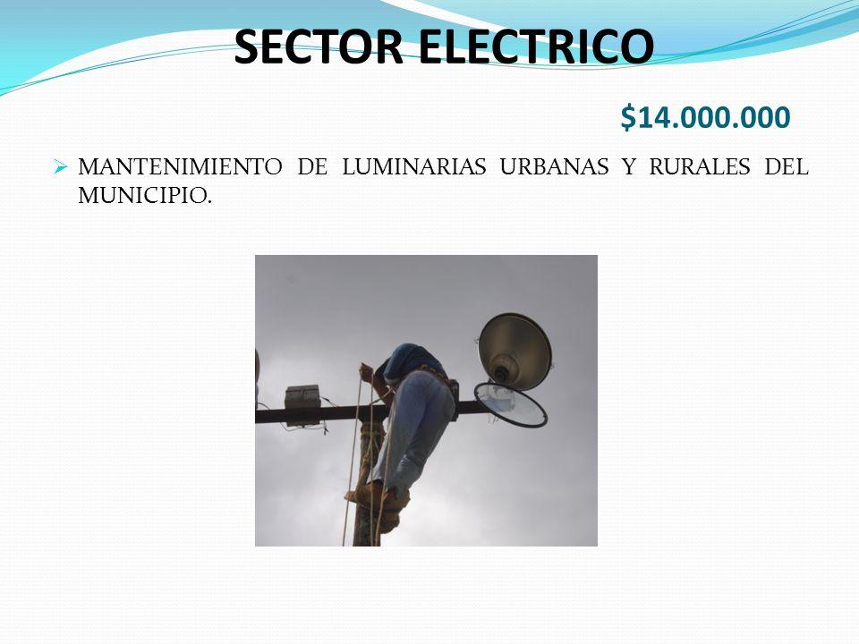SECTOR ELECTRICO $14.000.000 MANTENIMIENTO DE LUMINARIAS URBANAS Y RURALES DEL MUNICIPIO.
