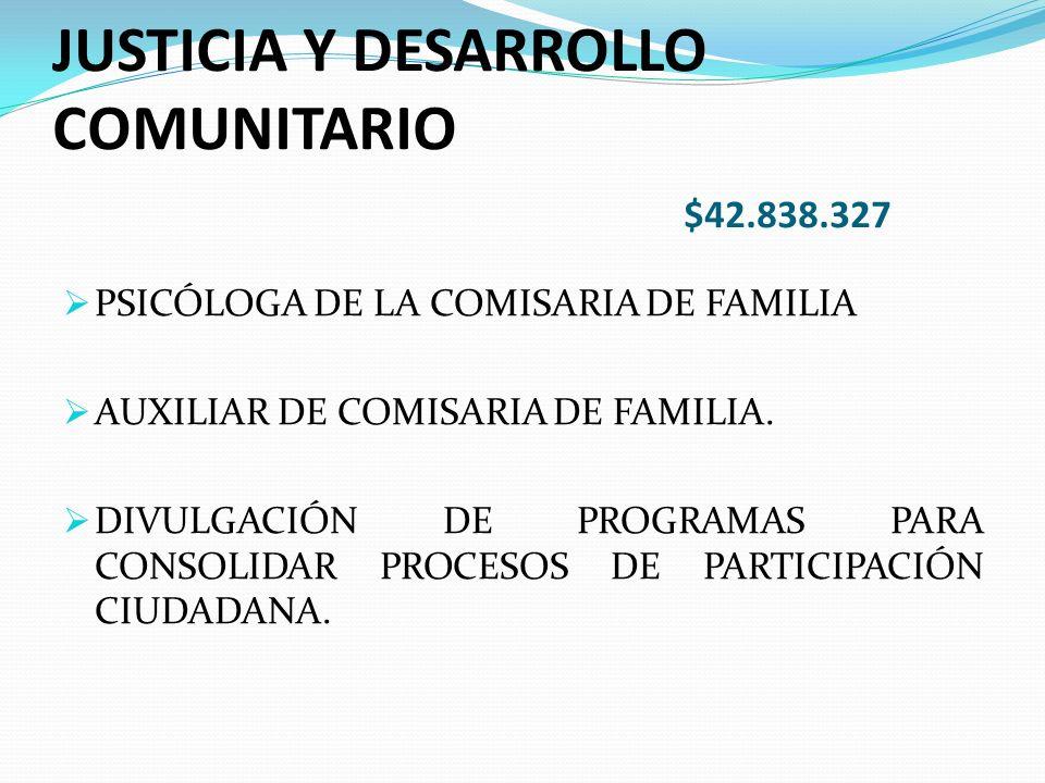 JUSTICIA Y DESARROLLO COMUNITARIO $42.838.327 PSICÓLOGA DE LA COMISARIA DE FAMILIA AUXILIAR DE COMISARIA DE FAMILIA.