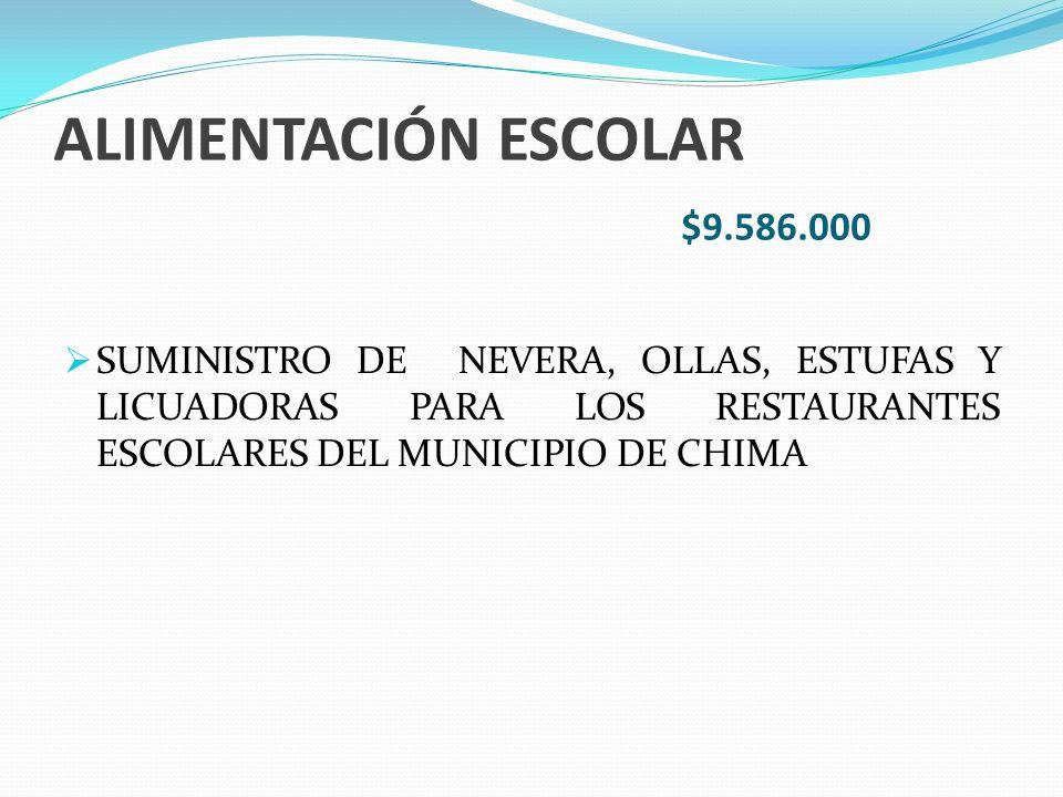ALIMENTACIÓN ESCOLAR $9.586.000 SUMINISTRO DE NEVERA, OLLAS, ESTUFAS Y LICUADORAS PARA LOS RESTAURANTES ESCOLARES DEL MUNICIPIO DE CHIMA