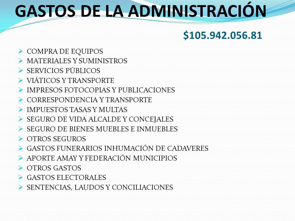 GASTOS DE LA ADMINISTRACIÓN $105.942.056.81 COMPRA DE EQUIPOS MATERIALES Y SUMINISTROS SERVICIOS PÚBLICOS VIÁTICOS Y TRANSPORTE IMPRESOS FOTOCOPIAS Y PUBLICACIONES CORRESPONDENCIA Y TRANSPORTE IMPUESTOS TASAS Y MULTAS SEGURO DE VIDA ALCALDE Y CONCEJALES SEGURO DE BIENES MUEBLES E INMUEBLES OTROS SEGUROS GASTOS FUNERARIOS INHUMACIÓN DE CADAVERES APORTE AMAY Y FEDERACIÓN MUNICIPIOS OTROS GASTOS GASTOS ELECTORALES SENTENCIAS, LAUDOS Y CONCILIACIONES