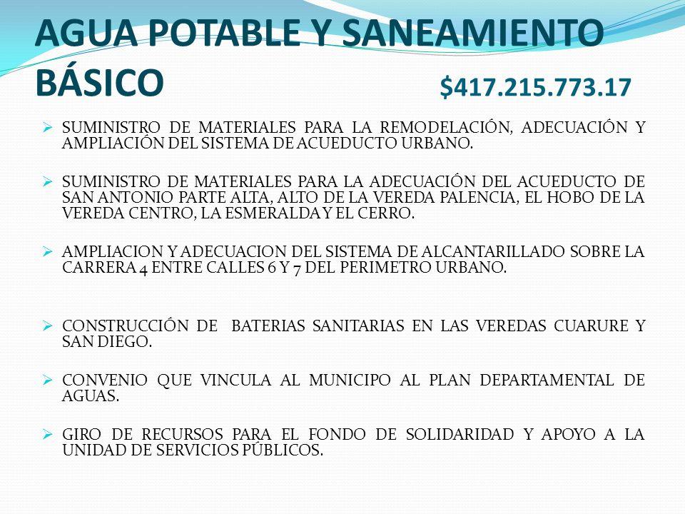 AGUA POTABLE Y SANEAMIENTO BÁSICO $417.215.773.17 SUMINISTRO DE MATERIALES PARA LA REMODELACIÓN, ADECUACIÓN Y AMPLIACIÓN DEL SISTEMA DE ACUEDUCTO URBANO.
