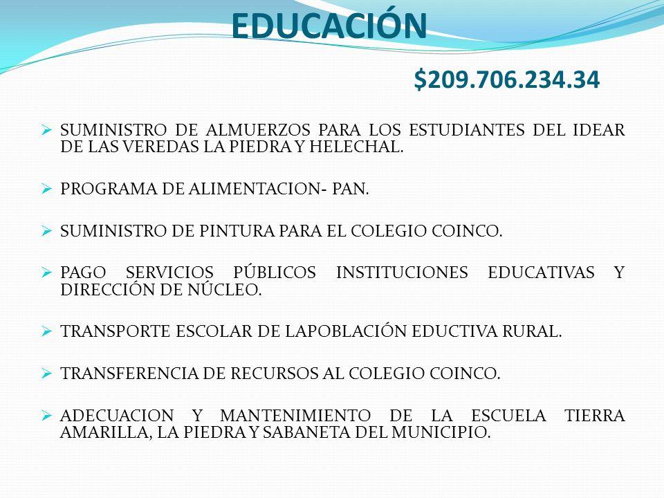 EDUCACIÓN $209.706.234.34 SUMINISTRO DE ALMUERZOS PARA LOS ESTUDIANTES DEL IDEAR DE LAS VEREDAS LA PIEDRA Y HELECHAL.
