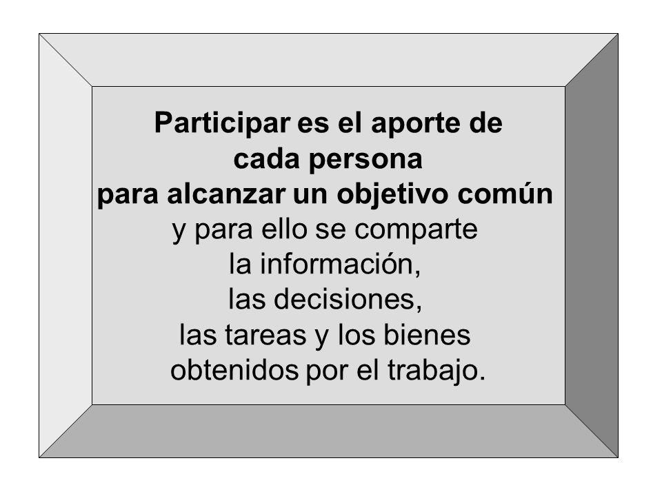 Participar es el aporte de cada persona para alcanzar un objetivo común y para ello se comparte la información, las decisiones, las tareas y los biene