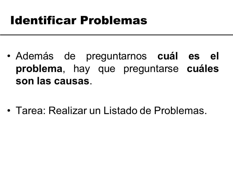 Identificar Problemas Además de preguntarnos cuál es el problema, hay que preguntarse cuáles son las causas. Tarea: Realizar un Listado de Problemas.