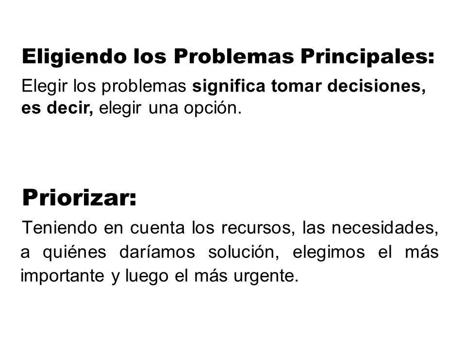 Eligiendo los Problemas Principales: Priorizar: Teniendo en cuenta los recursos, las necesidades, a quiénes daríamos solución, elegimos el más importa