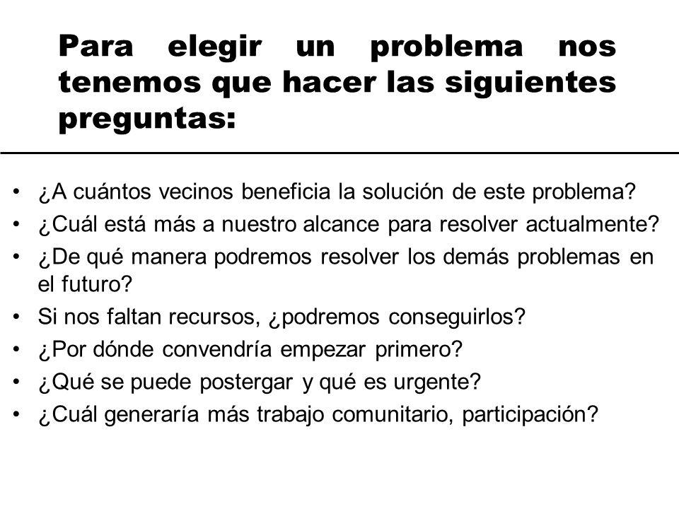 Para elegir un problema nos tenemos que hacer las siguientes preguntas: ¿A cuántos vecinos beneficia la solución de este problema? ¿Cuál está más a nu