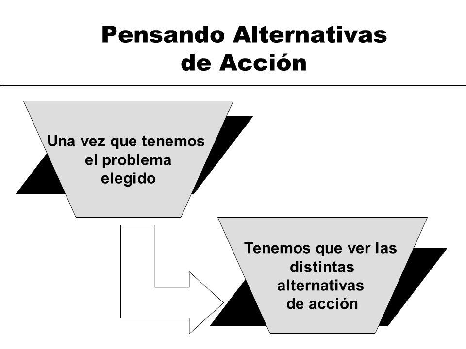 Pensando Alternativas de Acción Una vez que tenemos el problema elegido Tenemos que ver las distintas alternativas de acción