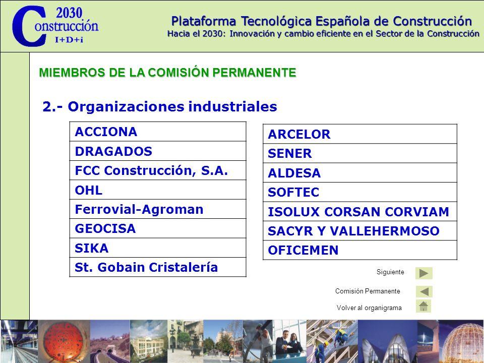 Plataforma Tecnológica Española de Construcción Hacia el 2030: Innovación y cambio eficiente en el Sector de la Construcción 2.- Organizaciones industriales ACCIONA DRAGADOS FCC Construcción, S.A.