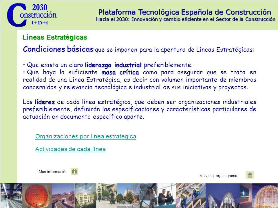 Plataforma Tecnológica Española de Construcción Hacia el 2030: Innovación y cambio eficiente en el Sector de la Construcción Condiciones básicas Condiciones básicas que se imponen para la apertura de Líneas Estratégicas: liderazgo industrial Que exista un claro liderazgo industrial preferiblemente.