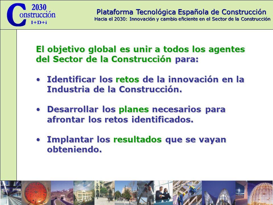Plataforma Tecnológica Española de Construcción Hacia el 2030: Innovación y cambio eficiente en el Sector de la Construcción Estrategia de la PTEC Objetivos para 2006 Mayorar los fondos que se están asignando a los proyectos presentados con base en al PTEC Creación de grupos de trabajo conjuntos para mejorar la transmisión de las ideas que nacen en la PTEC.