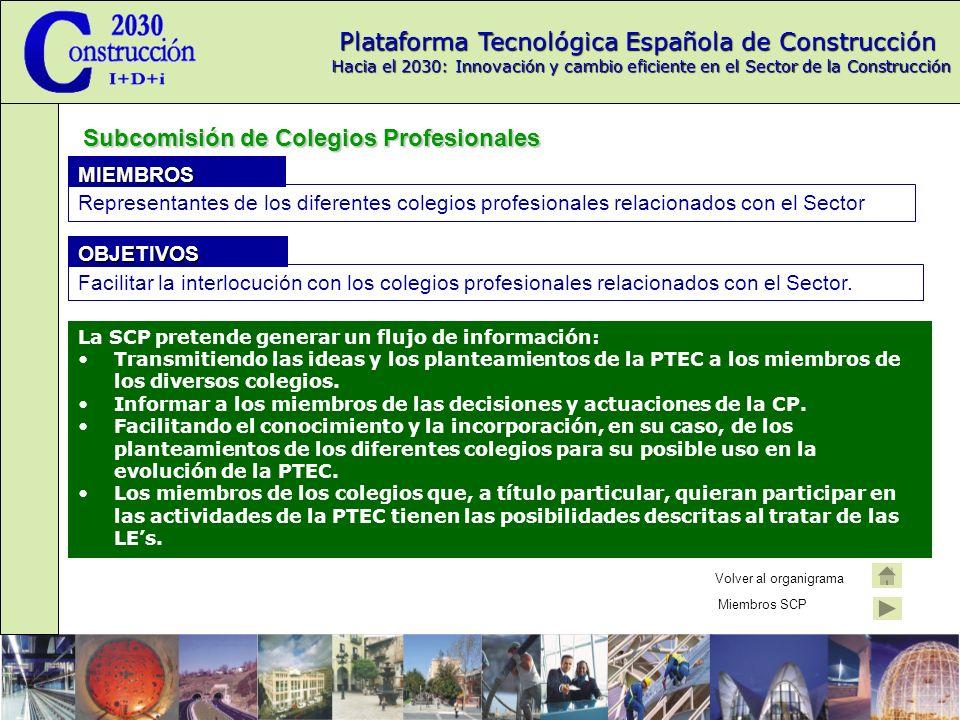 Plataforma Tecnológica Española de Construcción Hacia el 2030: Innovación y cambio eficiente en el Sector de la Construcción Subcomisión de Colegios Profesionales La SCP pretende generar un flujo de información: Transmitiendo las ideas y los planteamientos de la PTEC a los miembros de los diversos colegios.