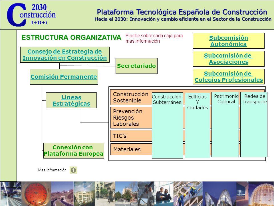 Plataforma Tecnológica Española de Construcción Hacia el 2030: Innovación y cambio eficiente en el Sector de la Construcción ESTRUCTURA ORGANIZATIVA Líneas Estratégicas Volver al organigrama