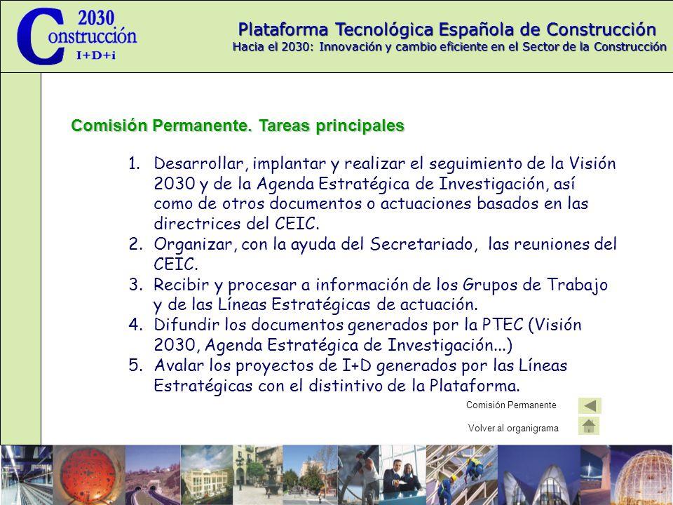 Plataforma Tecnológica Española de Construcción Hacia el 2030: Innovación y cambio eficiente en el Sector de la Construcción Subcomisión de Asociaciones subcomisión de Asociaciones La subcomisión de Asociaciones pretende generar un flujo de información: Transmitiendo las ideas y los planteamientos de la PTEC a los miembros de las diversas asociaciones.