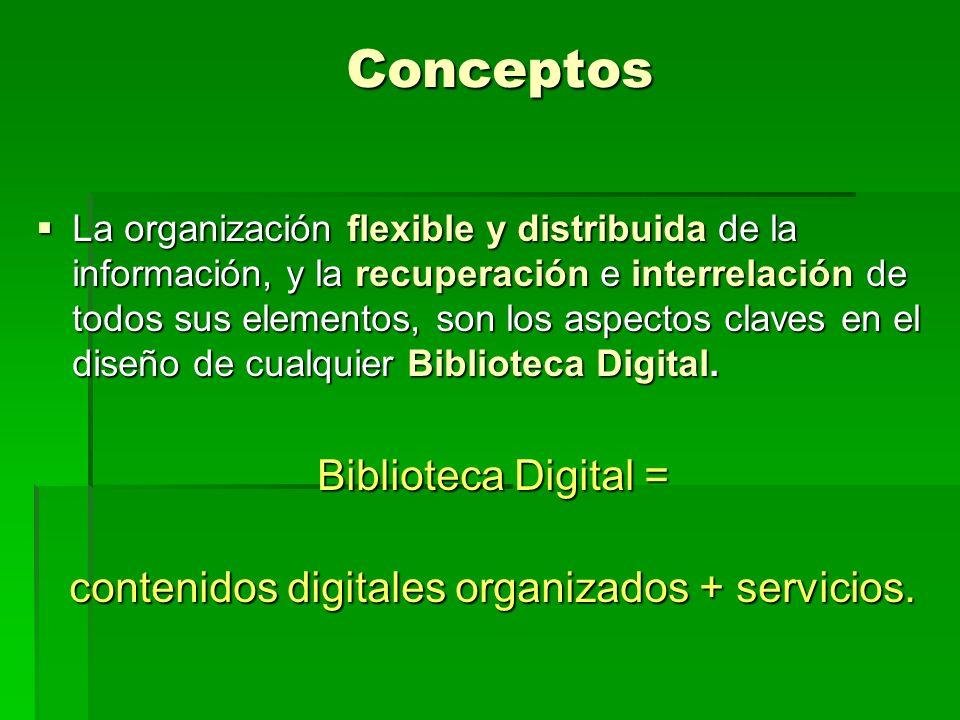 Conceptos La organización flexible y distribuida de la información, y la recuperación e interrelación de todos sus elementos, son los aspectos claves en el diseño de cualquier Biblioteca Digital.