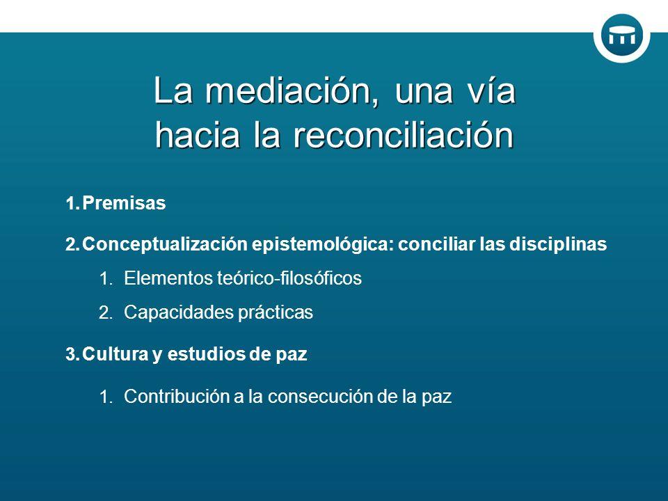 1. Premisas 2. Conceptualización epistemológica: conciliar las disciplinas 1.