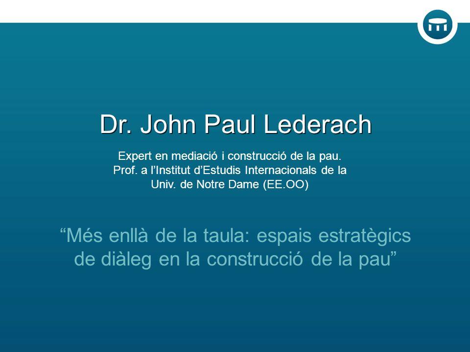 Més enllà de la taula: espais estratègics de diàleg en la construcció de la pau Dr.