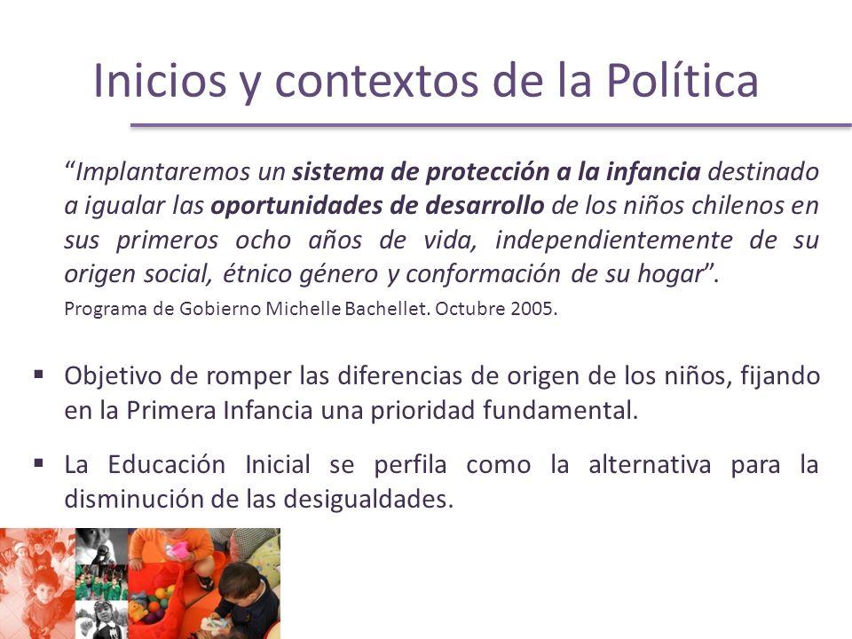 Inicios y contextos de la Política Implantaremos un sistema de protección a la infancia destinado a igualar las oportunidades de desarrollo de los niños chilenos en sus primeros ocho años de vida, independientemente de su origen social, étnico género y conformación de su hogar.
