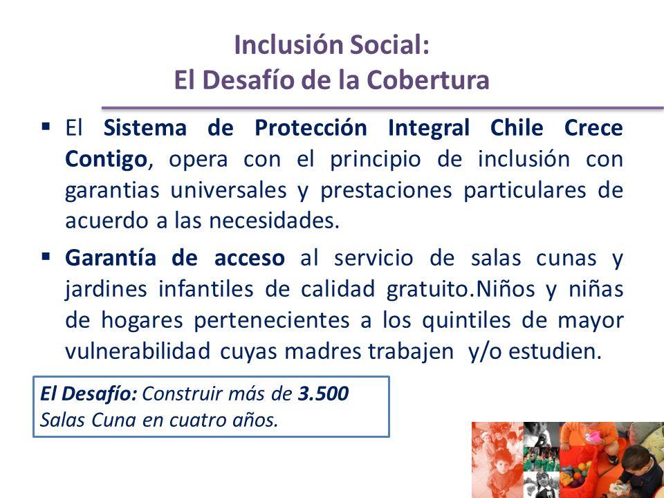 Inclusión Social: El Desafío de la Cobertura El Sistema de Protección Integral Chile Crece Contigo, opera con el principio de inclusión con garantias universales y prestaciones particulares de acuerdo a las necesidades.