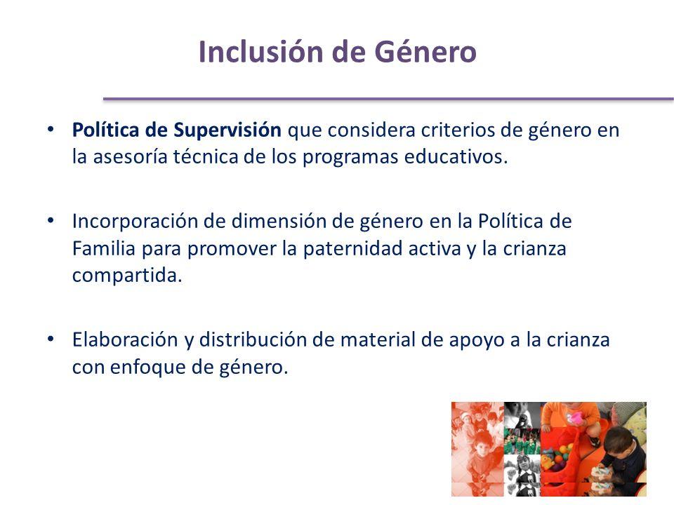Inclusión de Género Política de Supervisión que considera criterios de género en la asesoría técnica de los programas educativos.