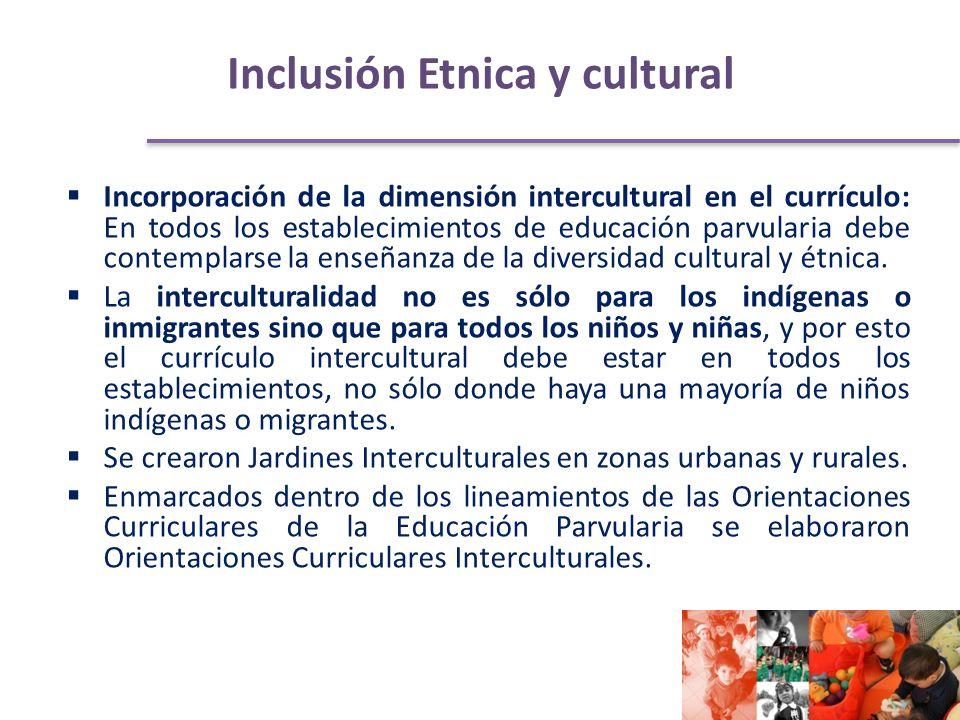 Inclusión Etnica y cultural Incorporación de la dimensión intercultural en el currículo: En todos los establecimientos de educación parvularia debe contemplarse la enseñanza de la diversidad cultural y étnica.