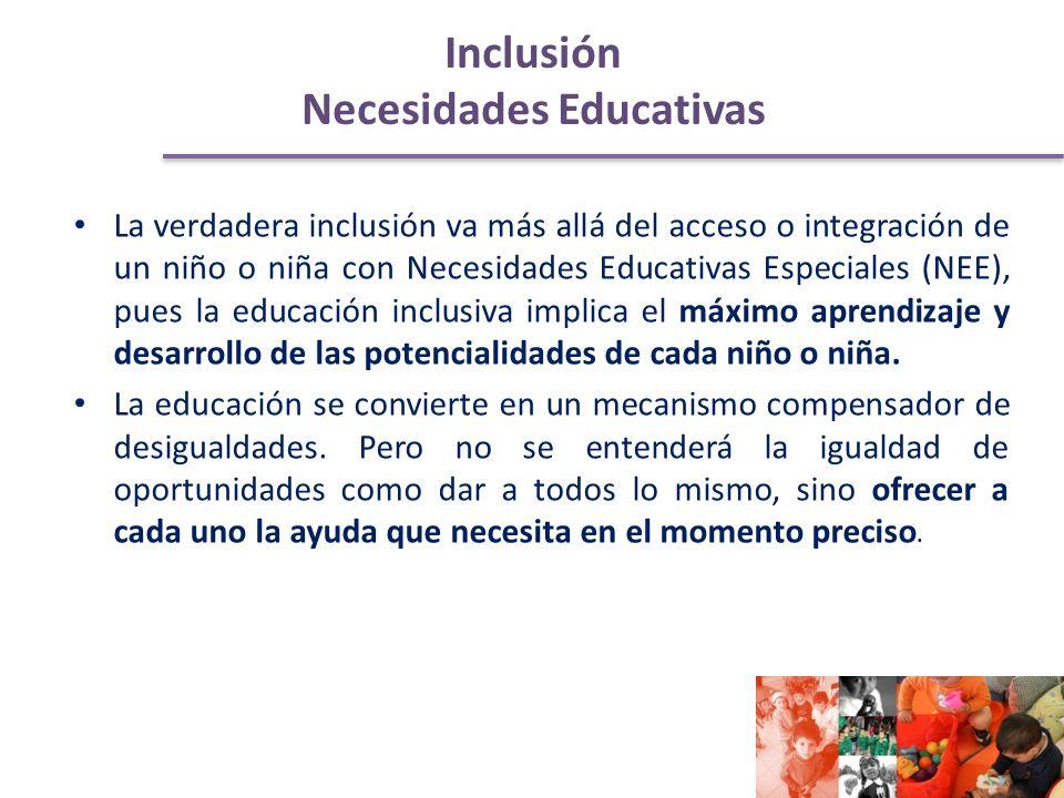 Inclusión Necesidades Educativas La verdadera inclusión va más allá del acceso o integración de un niño o niña con Necesidades Educativas Especiales (NEE), pues la educación inclusiva implica el máximo aprendizaje y desarrollo de las potencialidades de cada niño o niña.