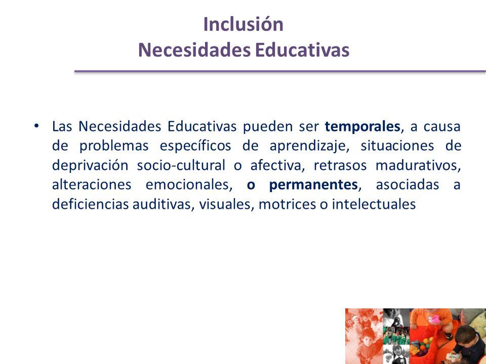 Inclusión Necesidades Educativas Las Necesidades Educativas pueden ser temporales, a causa de problemas específicos de aprendizaje, situaciones de deprivación socio-cultural o afectiva, retrasos madurativos, alteraciones emocionales, o permanentes, asociadas a deficiencias auditivas, visuales, motrices o intelectuales