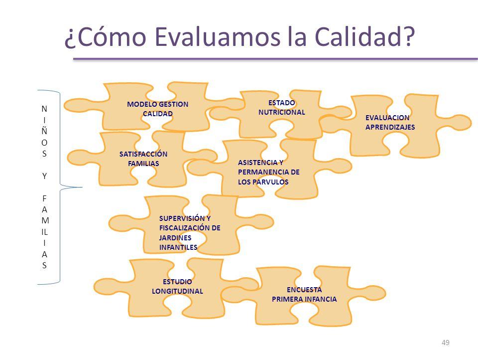 MODELO GESTION CALIDAD EVALUACION APRENDIZAJES SATISFACCIÓN FAMILIAS ESTADO NUTRICIONAL ESTUDIO LONGITUDINAL ASISTENCIA Y PERMANENCIA DE LOS PARVULOS N I Ñ O S Y F A M IL I A S SUPERVISIÓN Y FISCALIZACIÓN DE JARDINES INFANTILES ENCUESTA PRIMERA INFANCIA 49 ¿Cómo Evaluamos la Calidad