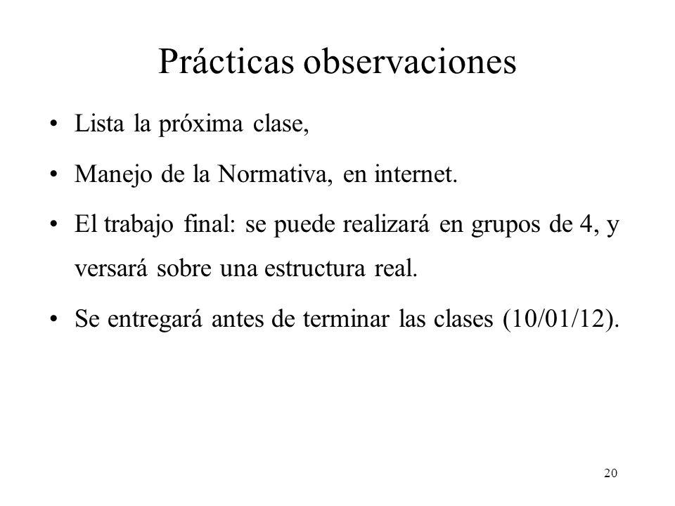 20 Prácticas observaciones Lista la próxima clase, Manejo de la Normativa, en internet. El trabajo final: se puede realizará en grupos de 4, y versará