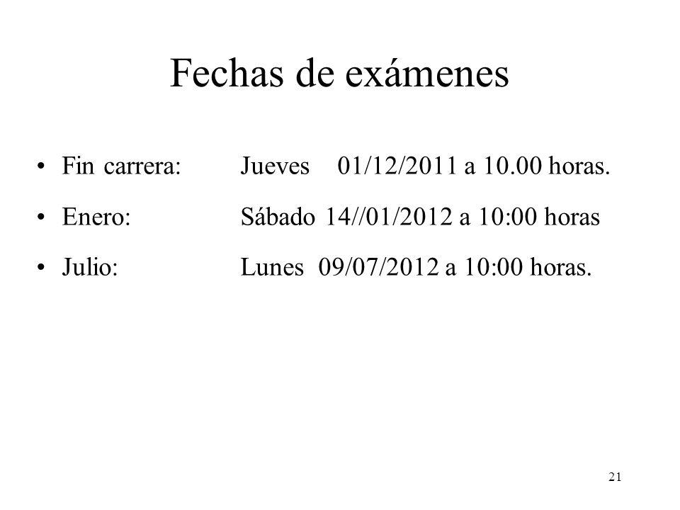 21 Fechas de exámenes Fin carrera: Jueves 01/12/2011 a 10.00 horas. Enero: Sábado 14//01/2012 a 10:00 horas Julio: Lunes 09/07/2012 a 10:00 horas.