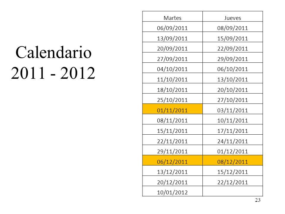 Calendario 2011 - 2012 23 MartesJueves 06/09/201108/09/2011 13/09/201115/09/2011 20/09/201122/09/2011 27/09/201129/09/2011 04/10/201106/10/2011 11/10/