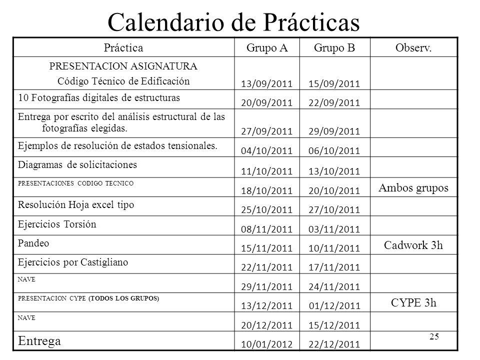 25 Calendario de Prácticas PrácticaGrupo AGrupo BObserv. PRESENTACION ASIGNATURA Código Técnico de Edificación 13/09/201115/09/2011 10 Fotografías dig