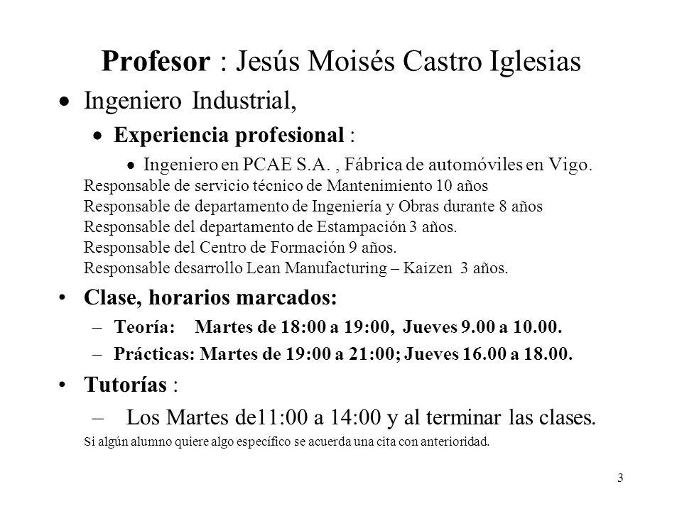 3 Profesor : Jesús Moisés Castro Iglesias Ingeniero Industrial, Experiencia profesional : Ingeniero en PCAE S.A., Fábrica de automóviles en Vigo. Resp