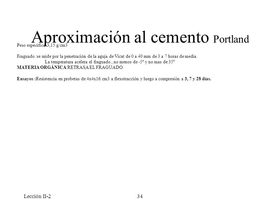 Lección II-234 Aproximación al cemento Portland Peso especifico 3,15 g/cm3 Fraguado :se mide por la penetración de la aguja de Vicat de 0 a 40 mm de 3