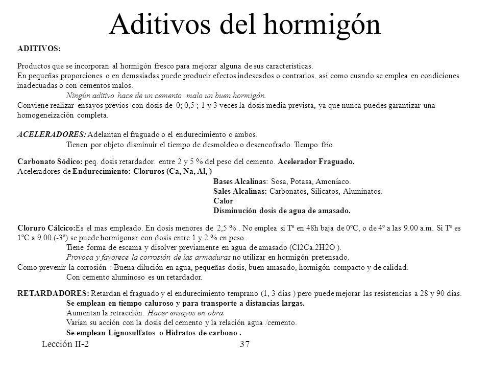 Lección II-237 Aditivos del hormigón ADITIVOS: Productos que se incorporan al hormigón fresco para mejorar alguna de sus características. En pequeñas