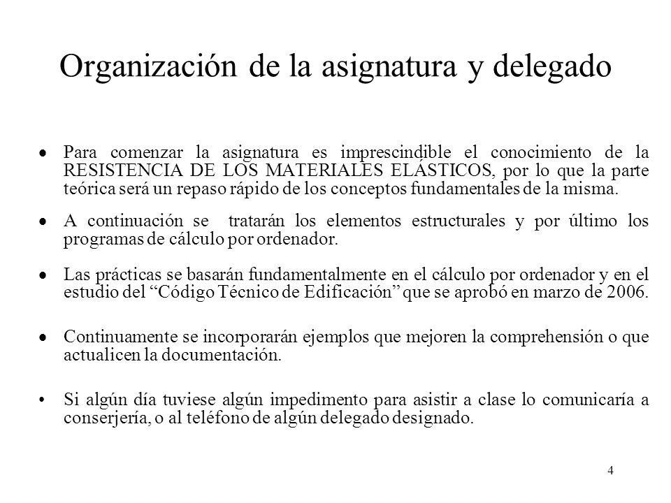 4 Organización de la asignatura y delegado Para comenzar la asignatura es imprescindible el conocimiento de la RESISTENCIA DE LOS MATERIALES ELÁSTICOS
