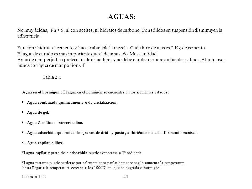 Lección II-241 AGUAS: No muy ácidas, Ph > 5, ni con aceites, ni hidratos de carbono. Con sólidos en suspensión disminuyen la adherencia. Función : hid