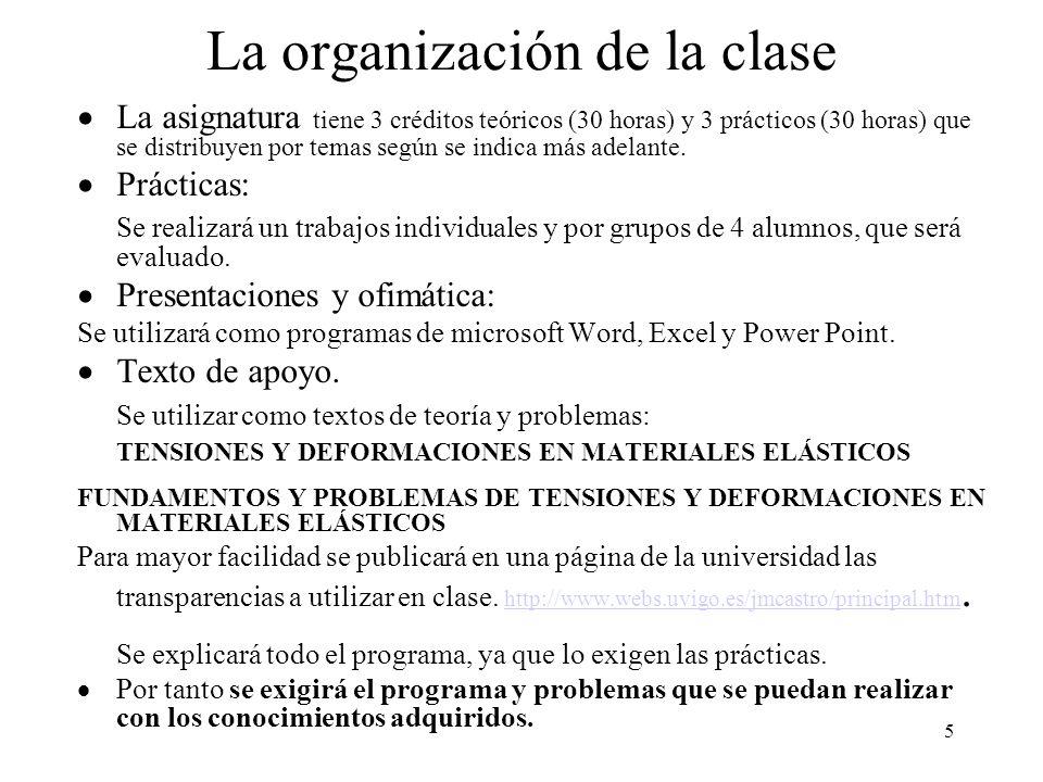 5 La organización de la clase La asignatura tiene 3 créditos teóricos (30 horas) y 3 prácticos (30 horas) que se distribuyen por temas según se indica