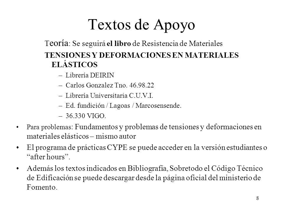 8 Textos de Apoyo T eoría : Se seguirá el libro de Resistencia de Materiales TENSIONES Y DEFORMACIONES EN MATERIALES ELÁSTICOS –Librería DEIRIN –Carlo