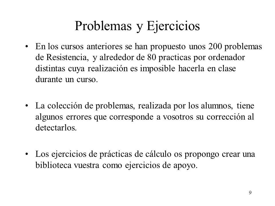 9 Problemas y Ejercicios En los cursos anteriores se han propuesto unos 200 problemas de Resistencia, y alrededor de 80 practicas por ordenador distin