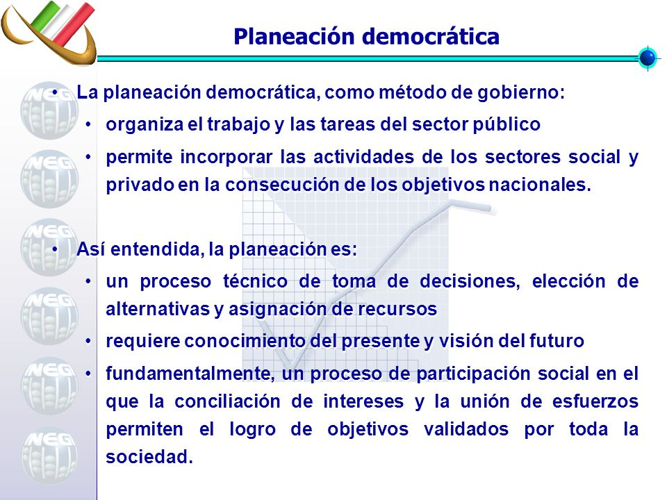 Planeación democrática La planeación democrática, como método de gobierno: organiza el trabajo y las tareas del sector público permite incorporar las actividades de los sectores social y privado en la consecución de los objetivos nacionales.