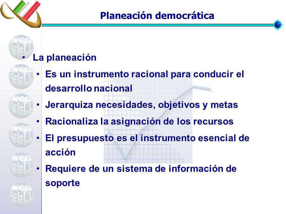 Planeación democrática La planeación Es un instrumento racional para conducir el desarrollo nacional Jerarquiza necesidades, objetivos y metas Raciona