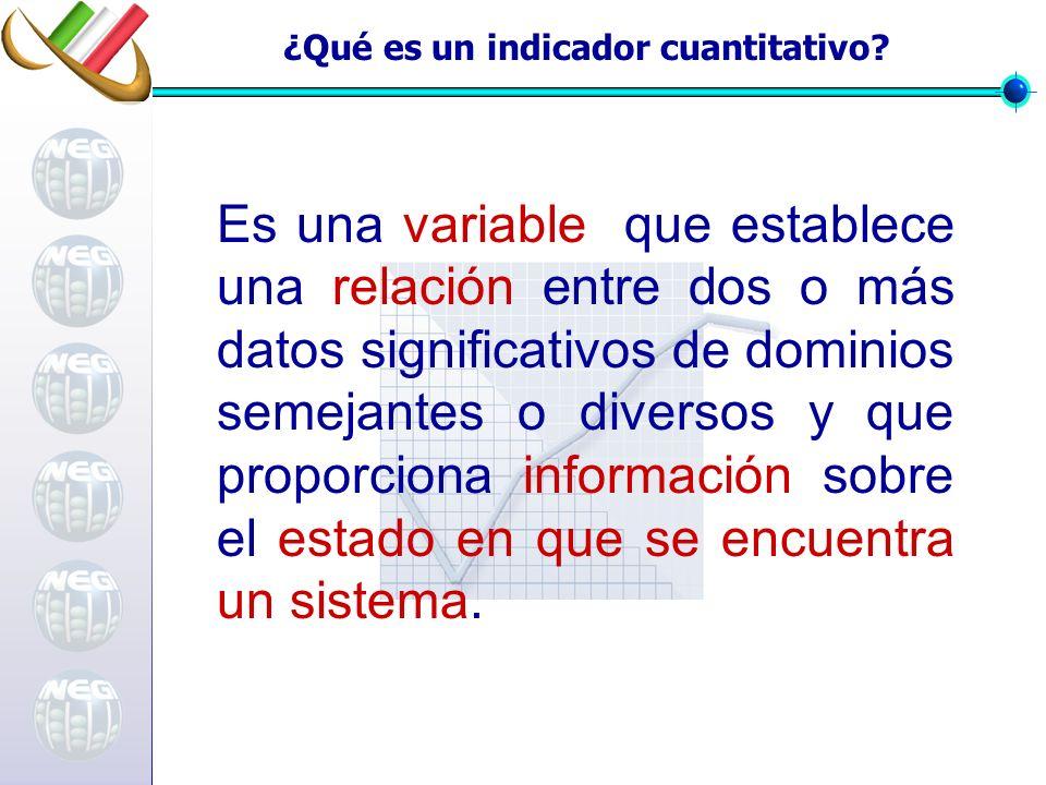 Es una variable que establece una relación entre dos o más datos significativos de dominios semejantes o diversos y que proporciona información sobre el estado en que se encuentra un sistema.