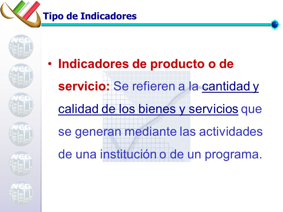 Tipo de Indicadores Indicadores de producto o de servicio: Se refieren a la cantidad y calidad de los bienes y servicios que se generan mediante las actividades de una institución o de un programa.
