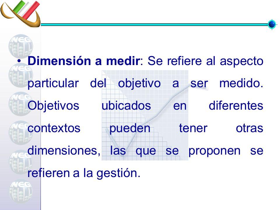 Dimensión a medir: Se refiere al aspecto particular del objetivo a ser medido. Objetivos ubicados en diferentes contextos pueden tener otras dimension