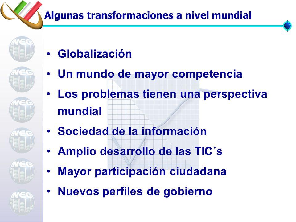 Algunas transformaciones a nivel mundial Globalización Un mundo de mayor competencia Los problemas tienen una perspectiva mundial Sociedad de la información Amplio desarrollo de las TIC´s Mayor participación ciudadana Nuevos perfiles de gobierno